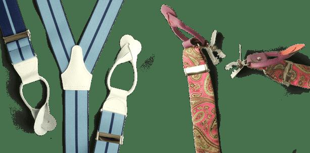 Hosenträger zum Knöpfen und wandelbare Hosenträger zum Wechseln zwischen Knöpfen und Clippen