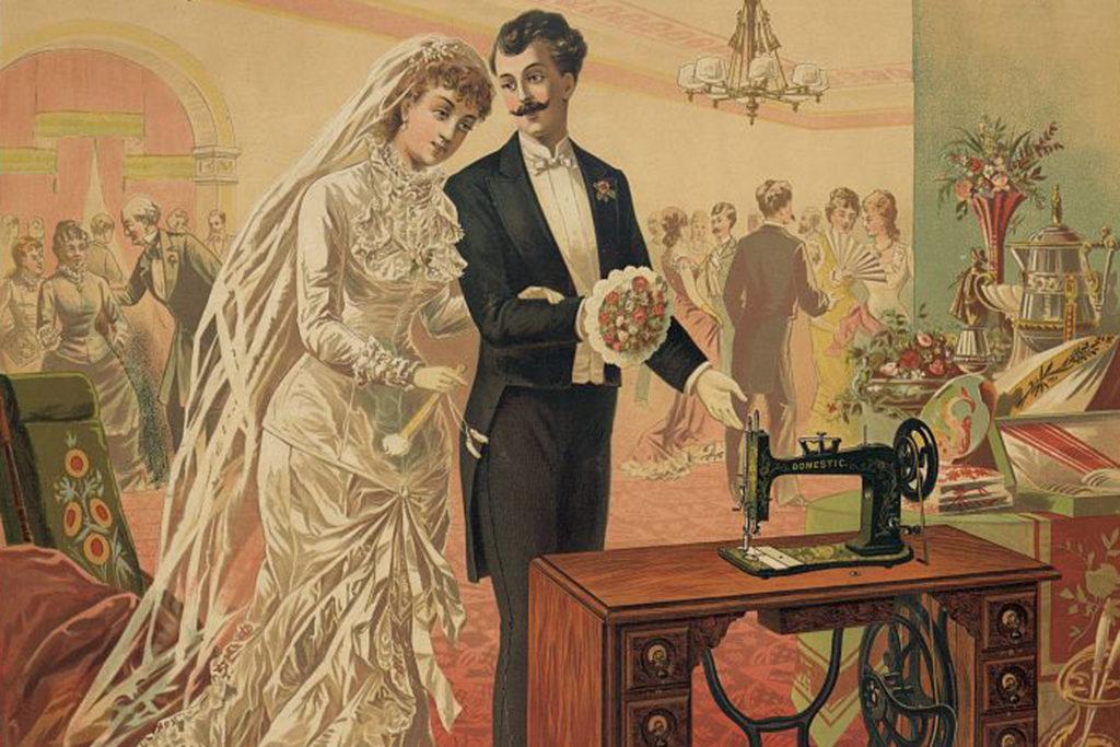 Alte Illustration eines Brautpaares vor einer Nähmaschine