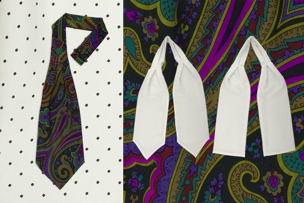 Paisley Ascot-Krawatte mit Schlaufe, weißer Ascot mt zwei Spitzen und weißer Hemdenschal mit zwei geraden Enden