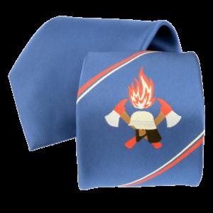 Feuerwehr-Krawatte mit Logo und Streifen. Das Logo zeigt einen deutschen Feuerwehr-Helm, zwei Äxte und Flammen.